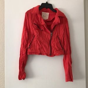 Free people red linen crop jacket size 2